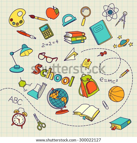 School doodle on notebook page vector background file - stock vector