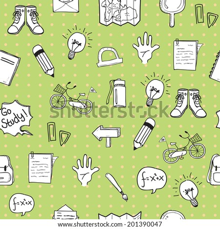 School Doodle Pattern Seamless version 2 - stock vector