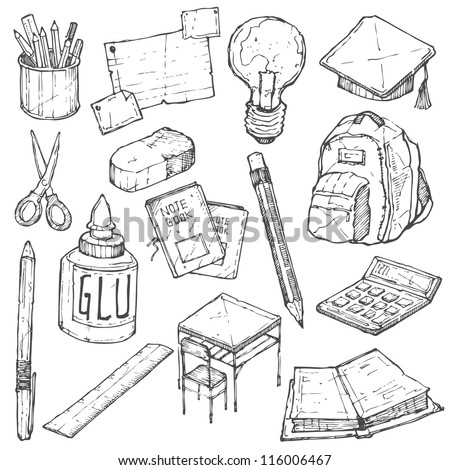 School Doodle Vector Set - stock vector