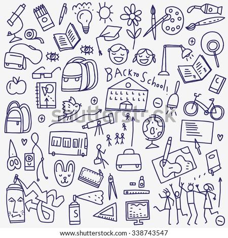 School doodles - stock vector