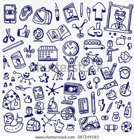 School doodles set - stock vector