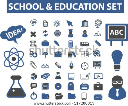school & education icons set, vector - stock vector