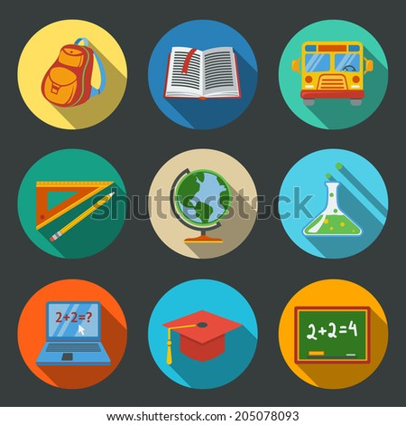 School (education) modern flat icons set on color round plates with - globe, notebook, blackboard, backpack, text book, graduation cap, school bus, science bulb, pencil and ruler. - stock vector