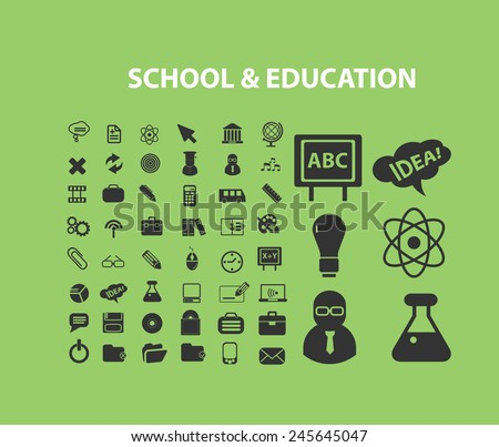 school, education, study, learning, science, lab icons, signs, illustration isolated on background set, vector - stock vector