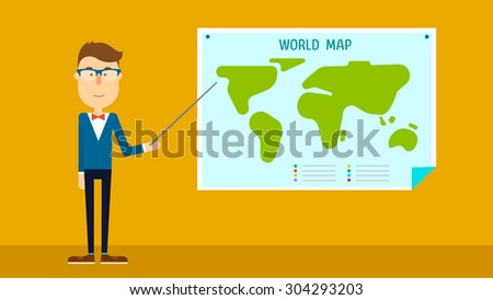 School geography teacher shows world map. Flat design. Vector illustration. - stock vector