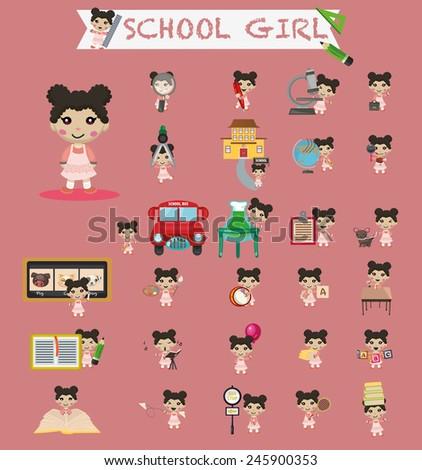 school girl - stock vector