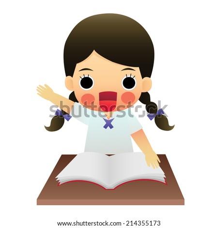 school girl sitting on table - stock vector