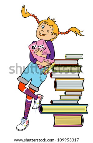 school girl standing by heap of books and holding book,vector picture,children illustration isolated on white background - stock vector