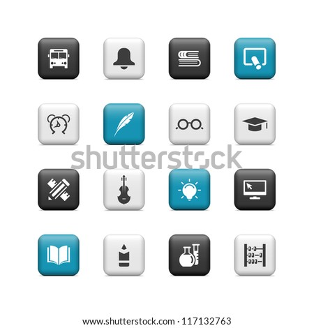School icons. Buttons - stock vector