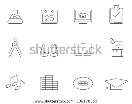 School icons in thin outlines. Education, class. - stock vector