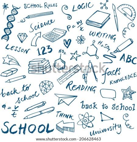 School icons set doodle vector - stock vector