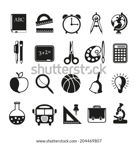 school icons set on white background. Vector illustration. - stock vector