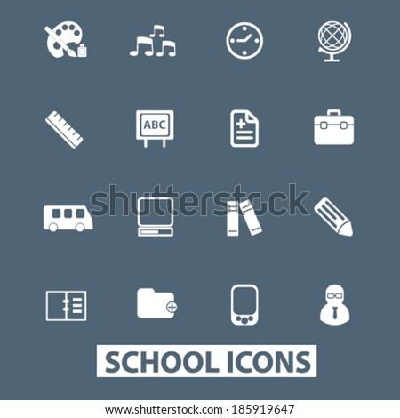 school icons set. vector - stock vector