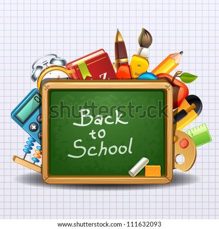 school illustration-2 - stock vector