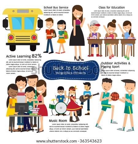School infographics element. Vector illustration - stock vector