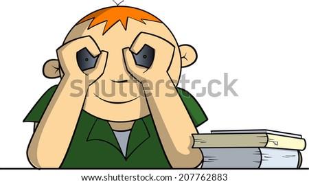 School kid with binoculars - stock vector