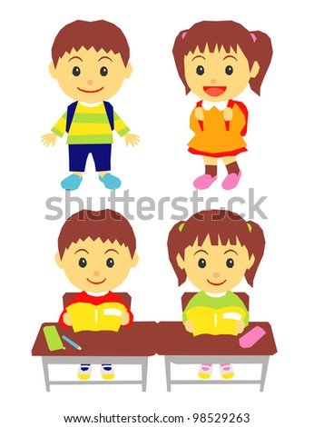 school kids - stock vector