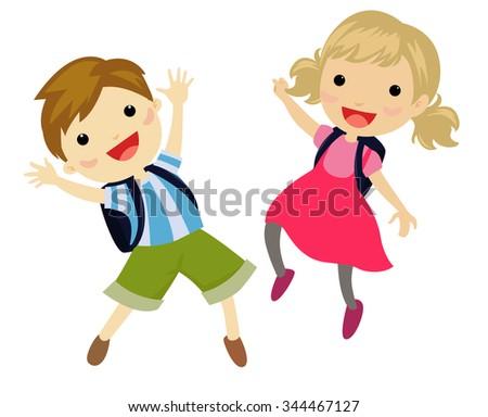 School kids jumping - stock vector