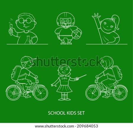 School kids set on chalkboard - stock vector