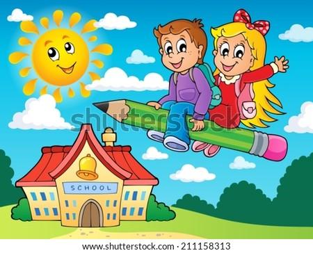 School kids theme image 5 - eps10 vector illustration. - stock vector