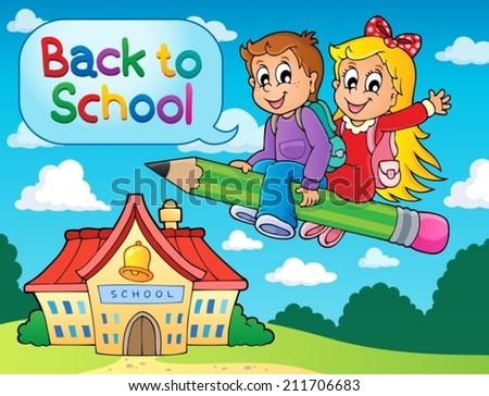 School kids theme image 6 - eps10 vector illustration. - stock vector