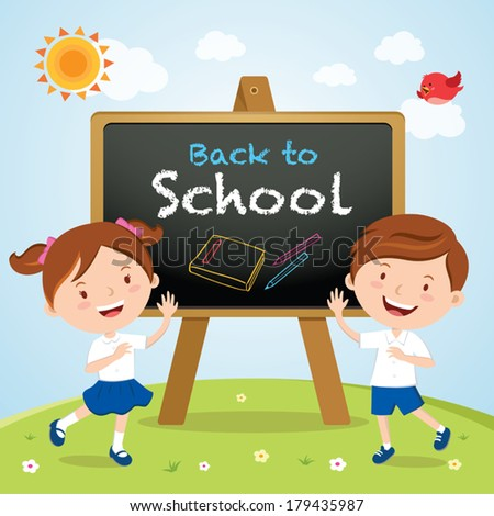 School kids with a sign board. Back to school.  - stock vector