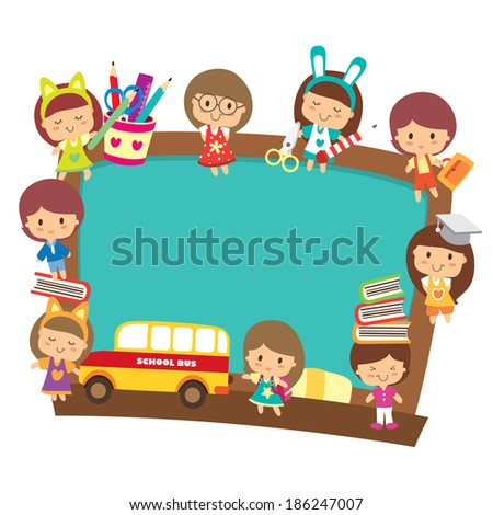 school kids with blackboard design - stock vector