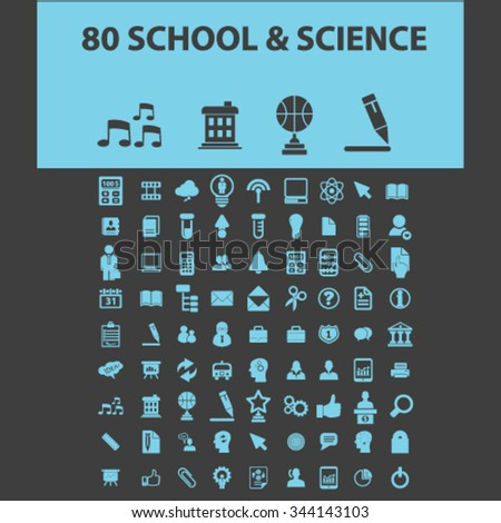 school, learning, education, icons, signs vector concept set for infographics, mobile, website, application  - stock vector