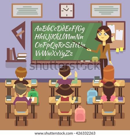 School lesson in classroom with school child, pupils and teachers. Classroom with student, teacher study in school classroom. Vector flat illustration - stock vector