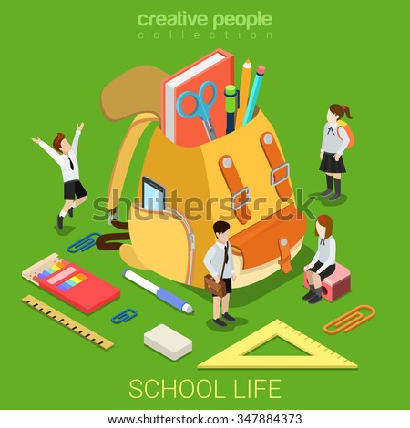 School life flat 3d isometry isometric primary education concept web vector illustration. Schoolboy schoolgirl stationery accessory around big rucksack backpack. Creative people collection. - stock vector