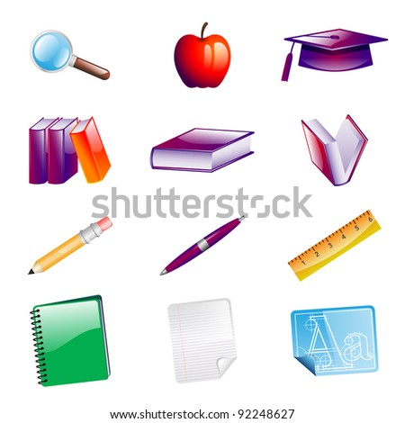 School Objects Icons - stock vector