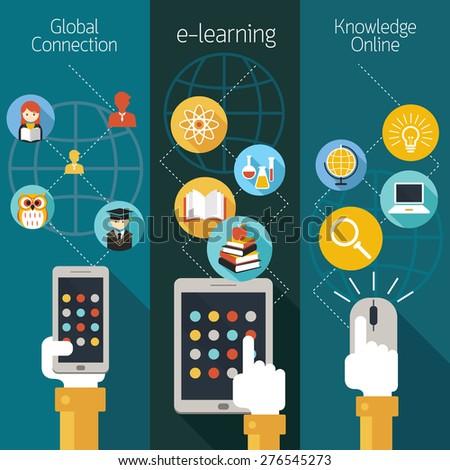 School Online, E-Learning, E-Book, Backdrop, Education & Study - stock vector