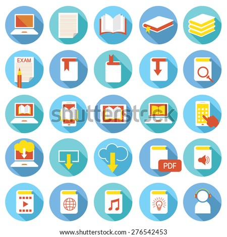 School Online, E-Learning, E-Book, Book Icons Set, Education & Study - stock vector