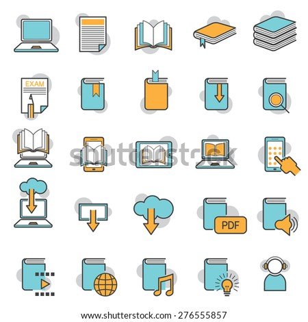 School Online, E-Learning, E-Book, Book Line Icons Set, Education, Linear, Line, Icons and Objects - stock vector