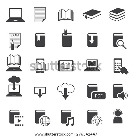 School Online, E-Learning, E-Book, Book Mono Icons Set, Education & Study - stock vector