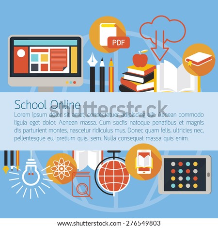 School Online E-Learning Objects Layout Background, Education, E-Book, Study - stock vector