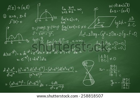 School or science hand drawn pattern on green chalkboard background, vector illustration. - stock vector