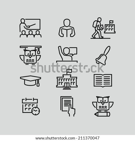 School outline icons - stock vector