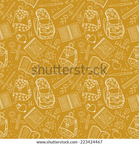 School pattern with backpack, notebook and childish sketching - stock vector