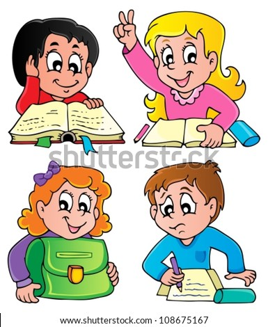 School pupils theme image 2 - vector illustration. - stock vector
