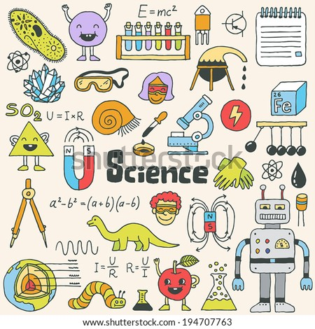 School science doodle set 1. Hand drawn vector illustration. - stock vector