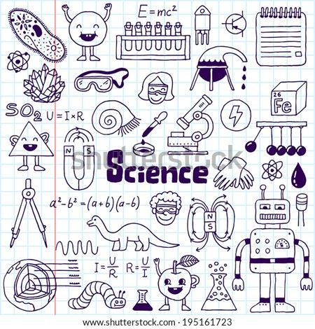 School science doodle set 1 notebook. Hand drawn vector illustration. - stock vector