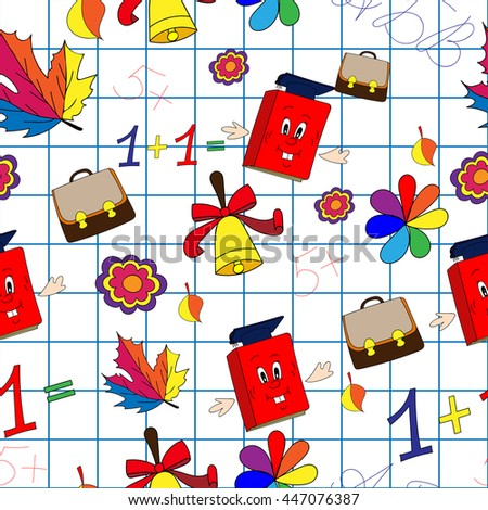 School seamless pattern. Background in the form of the copybook cells, which are located on school supplies schoolboy: backpack, book, letter, leaf, copybook, cage, bell, flower, clover, numbers - stock vector