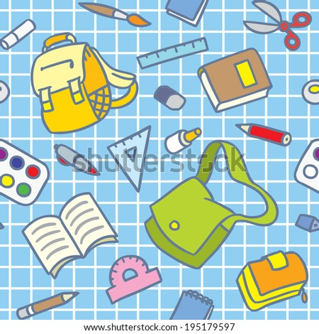 School seamless pattern of education equipment: bag and book, copybook and diary and ruler, pen and pencil, pencil box and glue and eraser. - stock vector