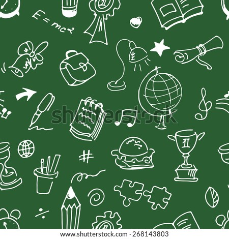 School seamless pattern. Sketch converted to vectors. - stock vector