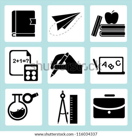 school set, stationery, education icon set - stock vector