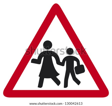 school sign (warning school sign, traffic sign school, roadsign with warning for crossing schoolkids) - stock vector