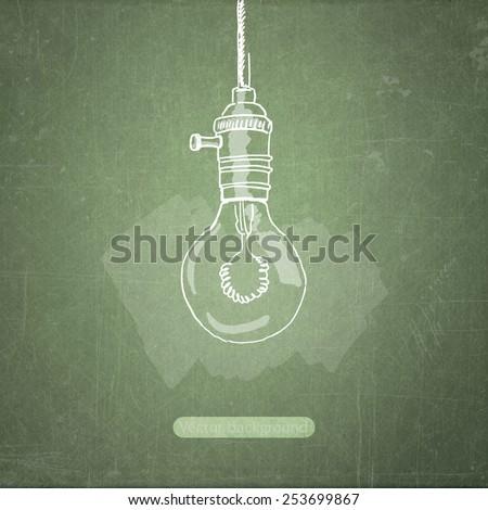 school sketches lamp on blackboard, vector background - stock vector