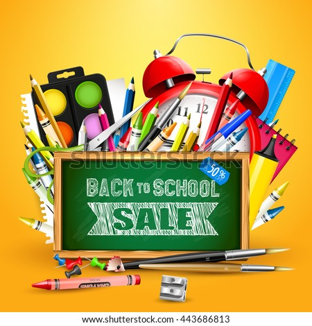 """School supplies and blackboard with """"Back To School Sale"""" inscription - stock vector"""