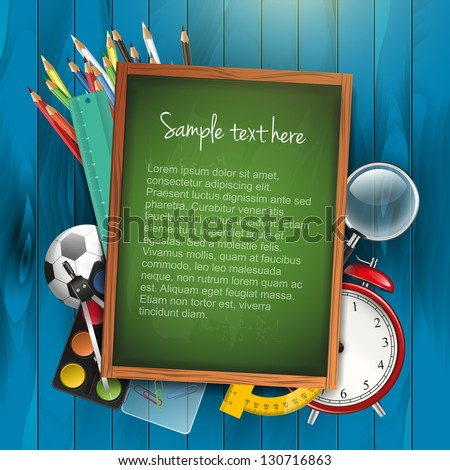 School supplies and empty green chalkboard - stock vector